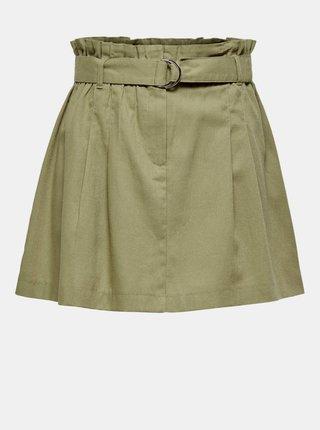 Zelená sukně s příměsí lnu ONLY Nelda