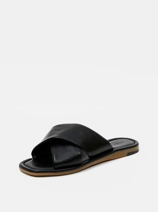 Čierne kožené šľapky Pieces Audrey