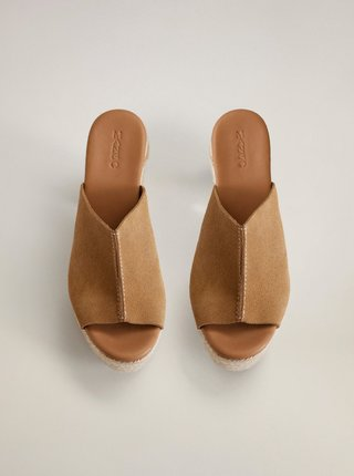 Hnědé semišové pantofle Mango Costa
