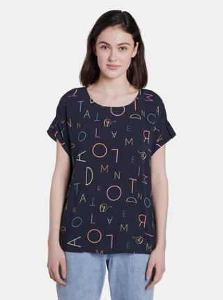 Tmavomodré dámske vzorované tričko Tom Tailor Denim