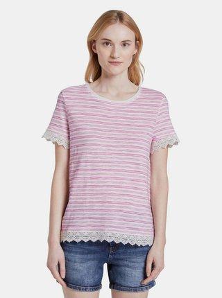 Ružové dámske pruhované tričko Tom Tailor Denim