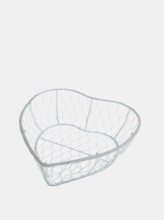Biely kovový košík v tvare srdca Dakls