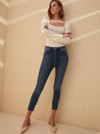 Tmavě modré zkrácené skinny fit džíny Trendyol