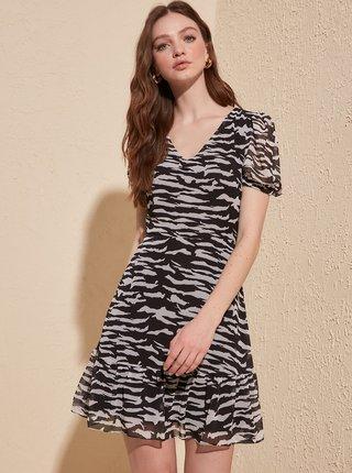 Čierne vzorované šaty Trendyol