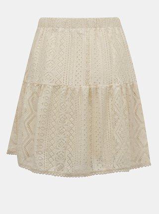 Krémová krajková sukňa VERO MODA Lea