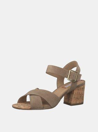 Béžové sandálky v semišové úpravě s.Oliver