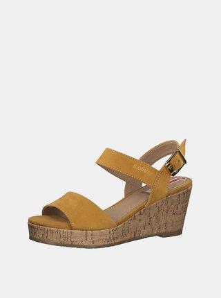Žluté sandálky v semišové úpravě s.Oliver