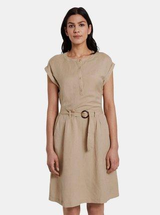 Béžové dámské lněné šaty Tom Tailor