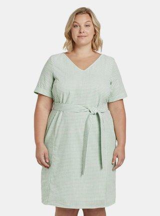 Svetlozelené dámske pruhované šaty My True Me Tom Tailor