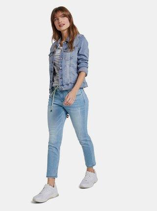 Modré dámské zkrácené relaxed fit džíny Tom Tailor