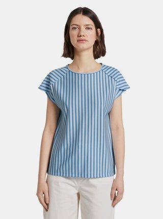 Modré dámske pruhované tričko Tom Tailor Denim