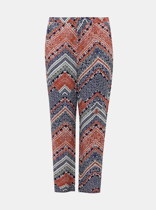 Modro-růžové vzorované kalhoty ONLY CARMAKOMA African
