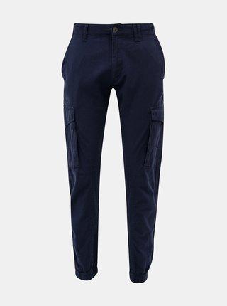 Tmavomodré nohavice s prímesou ľanu Jack & Jones Paul