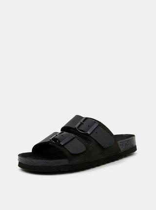 Černé kožené pantofle VERO MODA Carla
