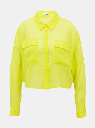 Neonovo žltá krátka priesvitná košeľa Noisy May Neno