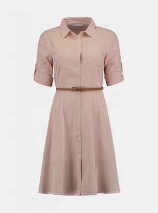 Světle hnědé pruhované košilové šaty s páskem Hailys
