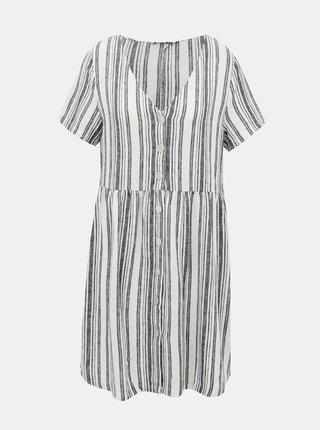 Bílo-šedé lněné pruhované šaty ONLY Alfina