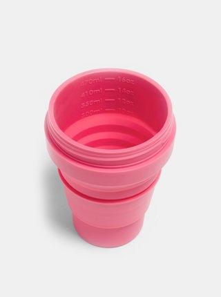Růžový cestovní skládací hrnek s brčkem Stojo Biggie 470 ml