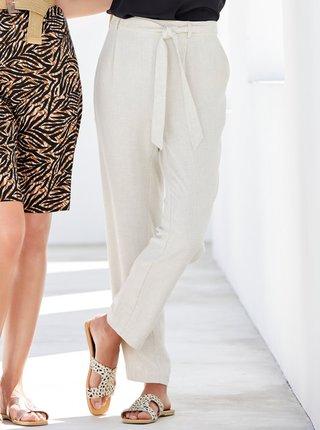 Krémové kalhoty s příměsí lnu M&Co