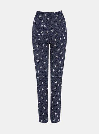 Tmavě modré květované kalhoty M&Co