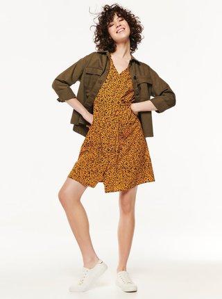 Oranžové šaty s leopardím vzorem M&Co