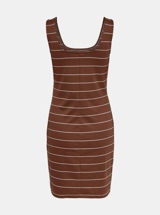 Hnedé pruhované šaty ONLY Loui