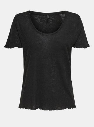 Čierne ľanové tričko ONLY Mirinda