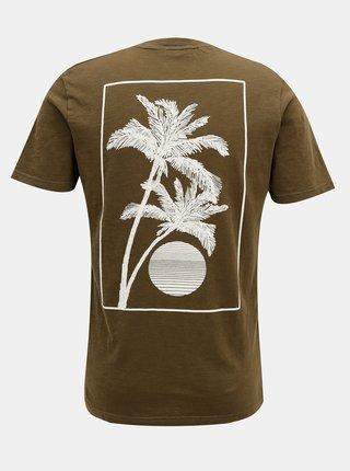 Khaki tričko s potiskem na zádech Selected Homme Paradise