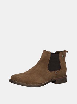 Hnedé dámske semišové chelsea topánky s.Oliver