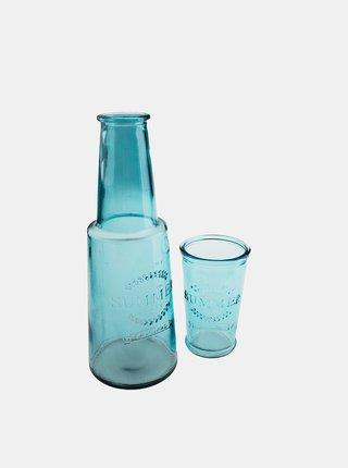 Modrá sklenená karafa s pohárom Dakls
