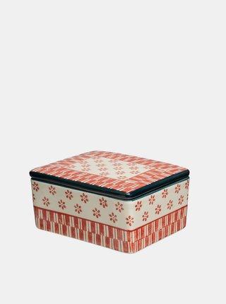 Krémovo-červená vzorovaná dóza na maslo Tranquillo Home Marie