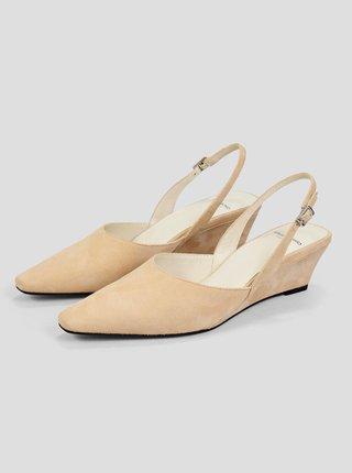 Béžové semišové sandálky na plnom podpätku Vagabond Erica
