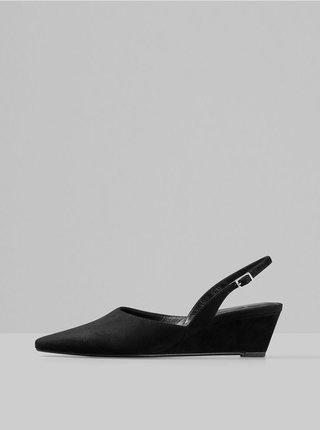 Čierne semišové sandálky na plnom podpätku Vagabond Erica