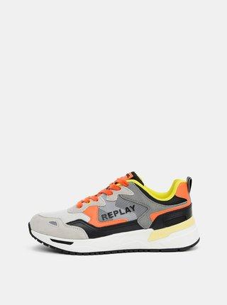 Oranžovo-šedé pánské tenisky s koženými detaily Replay