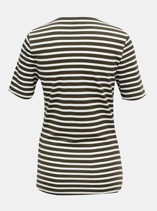 Khaki pruhované tričko ONLY Laila