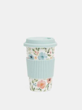 Bielo-modrý kvetovaný keramický cestovný hrnček Cooksmart