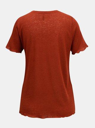 Hnědé lněné tričko ONLY Mirinda