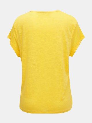 Žlté dámské ľanové tričko Tommy Hilfiger