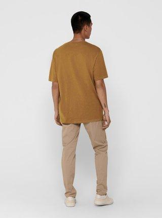 Hnedé tričko ONLY & SONS Mag