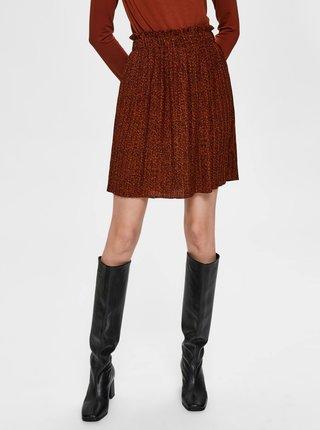 Hnědá plisovaná sukně Selected Femme Kinsley