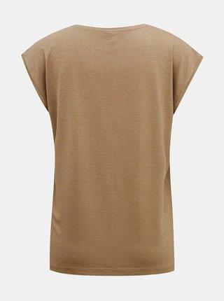 Béžové tričko s metalickými vláknami Pieces