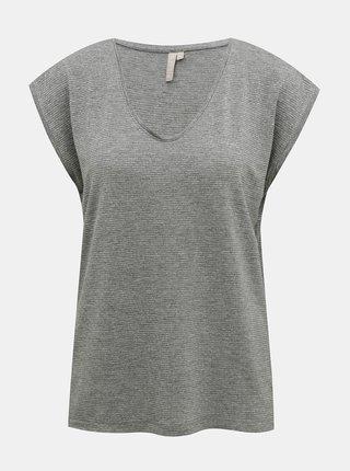 Šedé tričko s metalickými vláknami Pieces