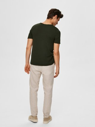 Kaki basic tričko Selected Homme