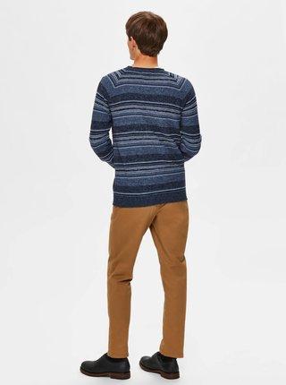 Modrý pruhovaný sveter Selected Homme