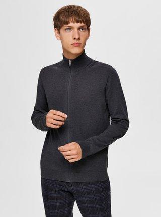 Tmavošedý sveter na zips Selected Homme