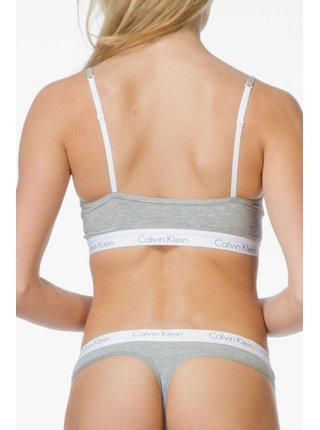Calvin Klein sivé tangá s bielou gumou Thong Strings
