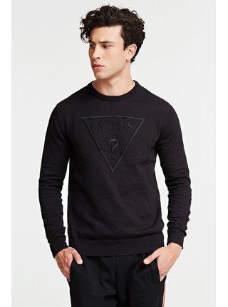 Guess čierny sveter Triangle Logo Sweater