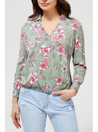 Moodo zelená košeľa s kvetinami