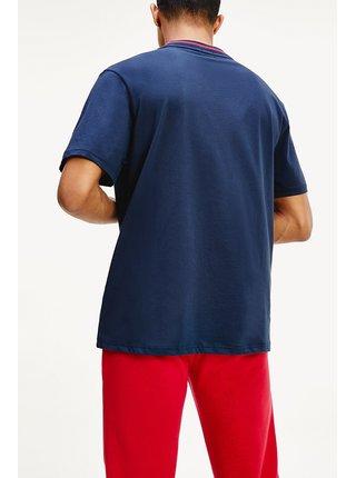 Tommy Hilfiger modré pánské tričko CN LS Tee Logo Navy Blazer