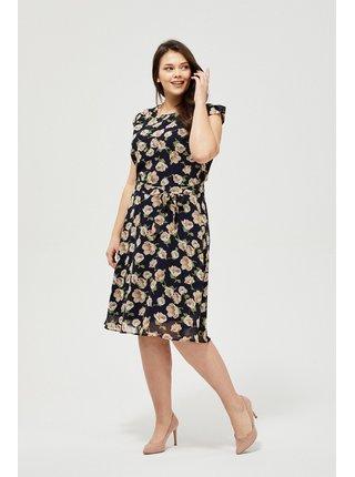Moodo tmavomodré šaty s viazaním v páse